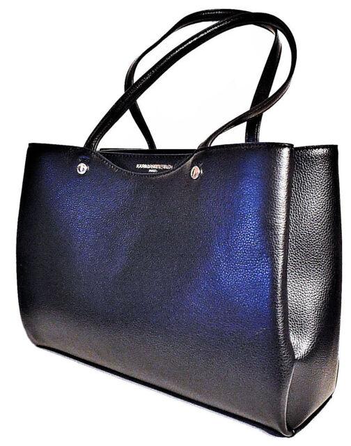 a31357a208516a Karl Lagerfeld Paris Black Pebbled Leather Goldtone Handbag Tote for ...