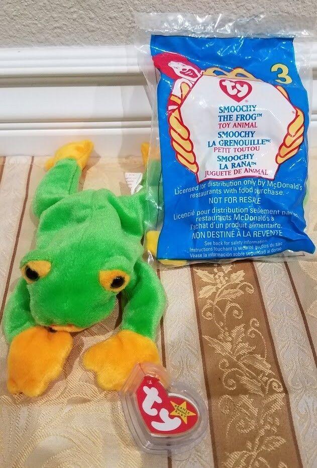 RARE Ty Beanie Beanie Beanie Baby w ERRORS -  Smoochy  Frog and McDonald's NIB  Smoochy  70b537