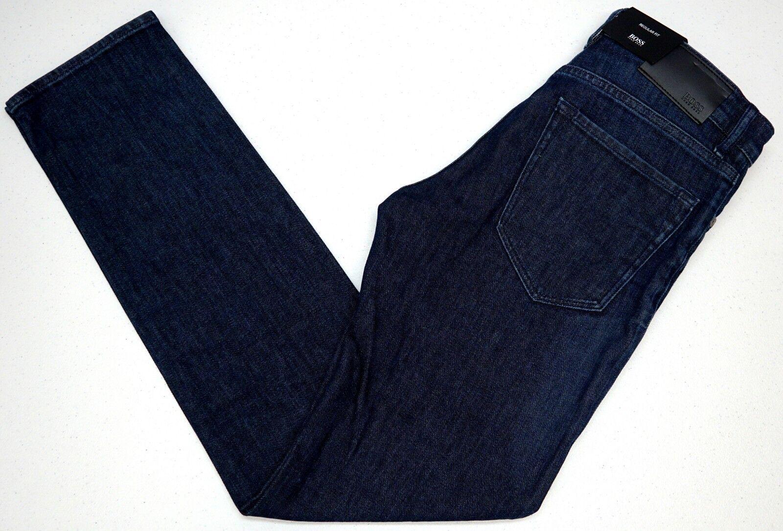 NWT  HUGO BOSS Dark bluee JEANS Regular Fit Mens Size 30 32 Maine Stretch NEW