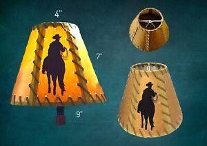 RUSTIC WESTERN LAMP SHADE KRAFT RAWHIDE LACED CLIP ON BULB, COWBOY HORSE DECAL