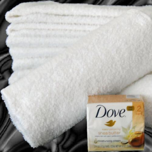 24 NEW WHITE 22X44 COTTON BATH SALON GYM TOWELS 6 LB DOZ VALUE PRICED