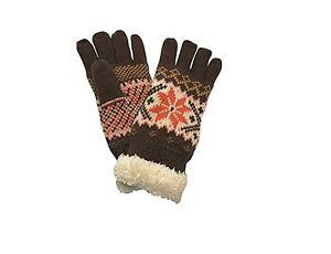 Gants-epais-et-chauds-motif-flocon-de-neige-pour-Femme-taille-unique-Marron