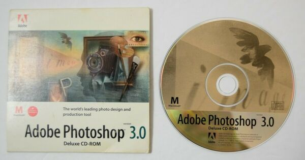 #1 Adobe Photoshop 3.0 Full Cd-rom W/serial Macintosh Vtg Computer Software Fancy Colors