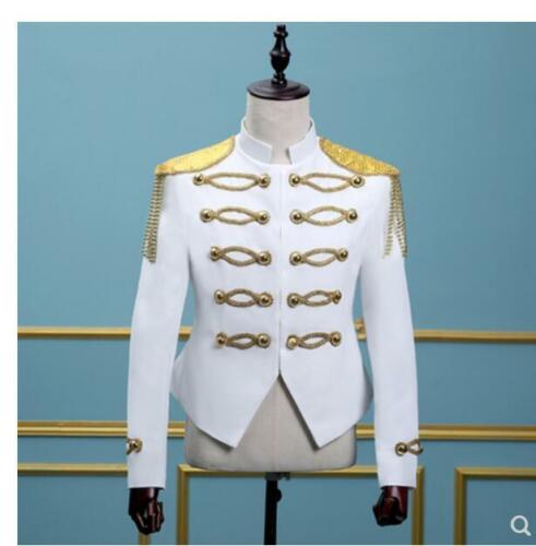 Men/'s Military Royal Robe Manteaux Blazer Veste Or Frange Bouton Stand Collar