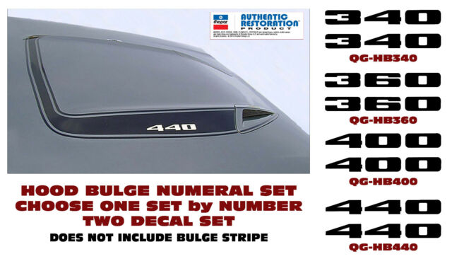 QG-HB 1973-74 PLYMOUTH ROAD RUNNER - HOOD BULGE DECAL SET 340  360  400 or 440