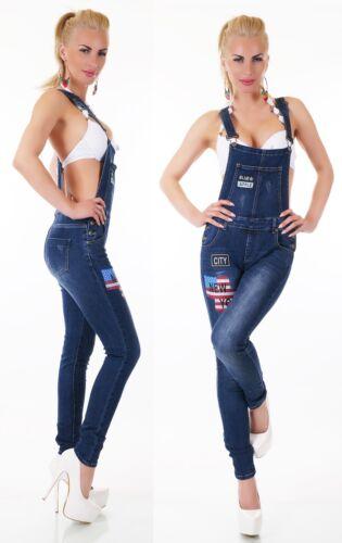 denim Patchs Jeans en pour New porte salopette femmes New York pantalon jarretelles RRtqP7Snwx