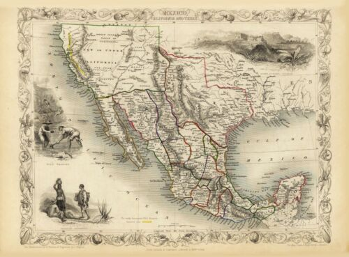 Old Vintage Map of California Texas and Mexico richly illustrated Tallis 1851