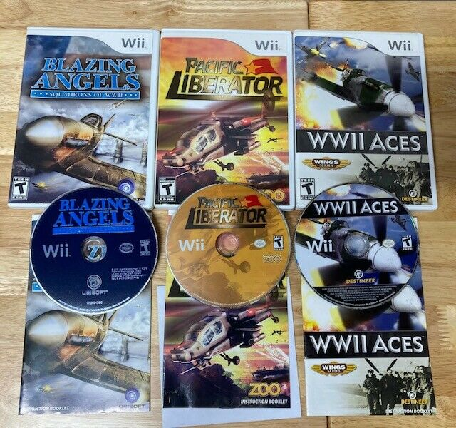 Lot of 3 Nintendo Wii Games Blazing Angels WWII Aces Pacific Liberator