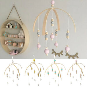 Wind-up Wooden Beads Toy Bed Bell Baby Crib Bracket Mobile DIY Holder Arm Gif