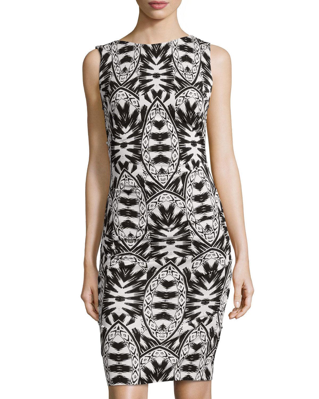 Nicole Miller Lauren Lumen schwarz and Weiß Printed Jersey Sz P Dress  New