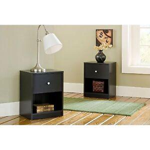 2-Piece Black 1-Drawer Nightstand Bedroom Furniture Collection Set Home Storage