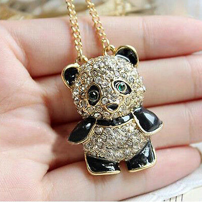 HOT Women's Full Drill Rhinestone Novelty Panda Bear Long Necklace Pendant