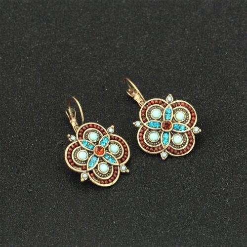 Boucles d/'Oreilles Dormeuse Doré Trefle Mini Perle Turquoise Bleu Marron DD10