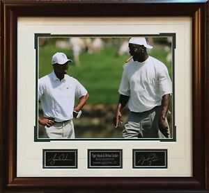 Details about Michael Jordan Tiger Woods facsimile signed 11x14 photo  plaque framed collage