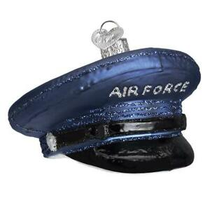 034-Air-Force-Cap-034-32379-X-Patriotic-Old-World-Christmas-Glass-Ornament-w-Owc-Bx
