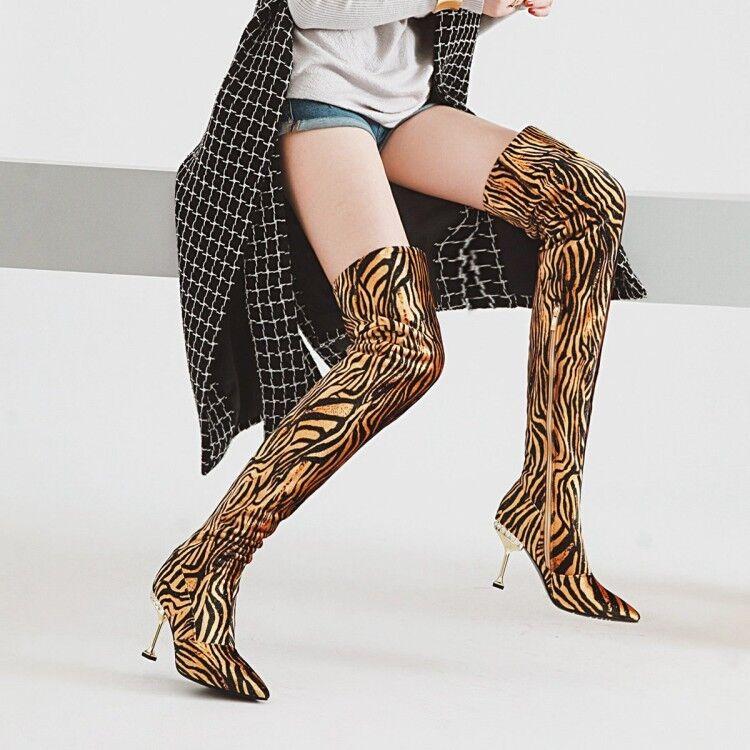 Para mujeres Moderno Sexy Leopardo en Punta Delgada Tacones Altos Sobre La Rodilla alta botas Talla