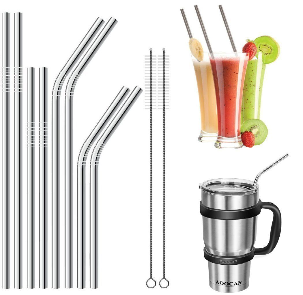 Metal Drinking Straw Plain or Coloured Stainless Steel Metal Straws Party 4 or 8