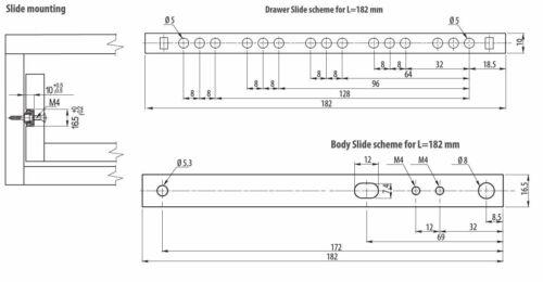 214 milimetre 17 mm large acier tiroir Runner jusqu/'à 8 Kg diapositives sur roulements à billes