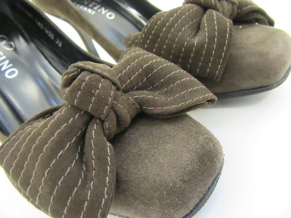 VALENTINO FRONT BROWN SUEDE PUMPS  FRONT VALENTINO BOW 36 6 76eda7