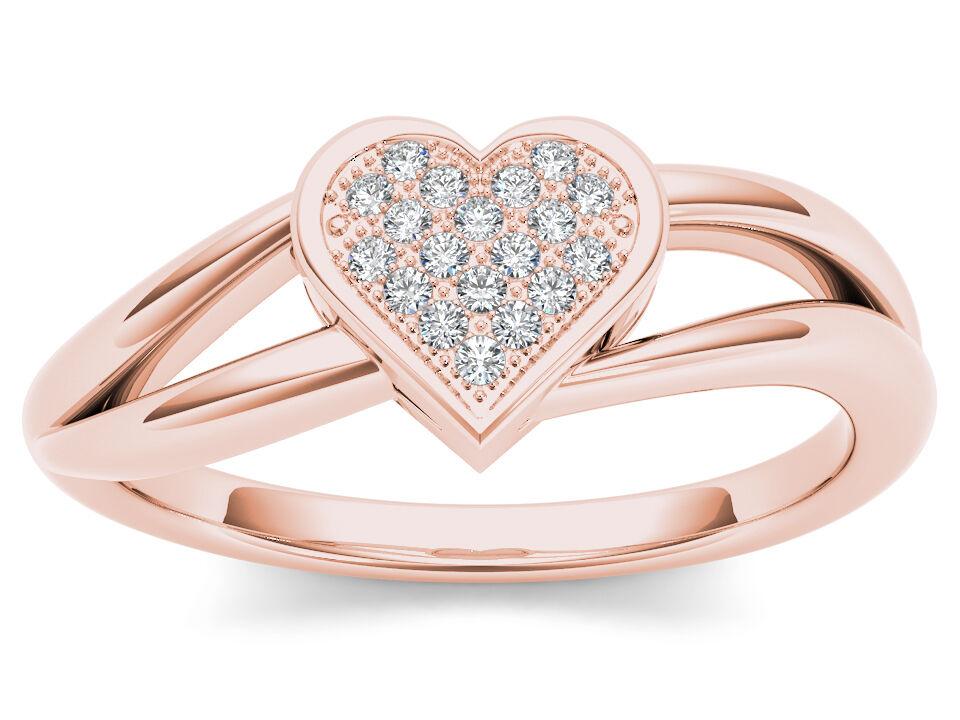 IGI Certified 10k pink gold 0.05 Ct Diamond Split Shank Heart Shape Fashion Ring
