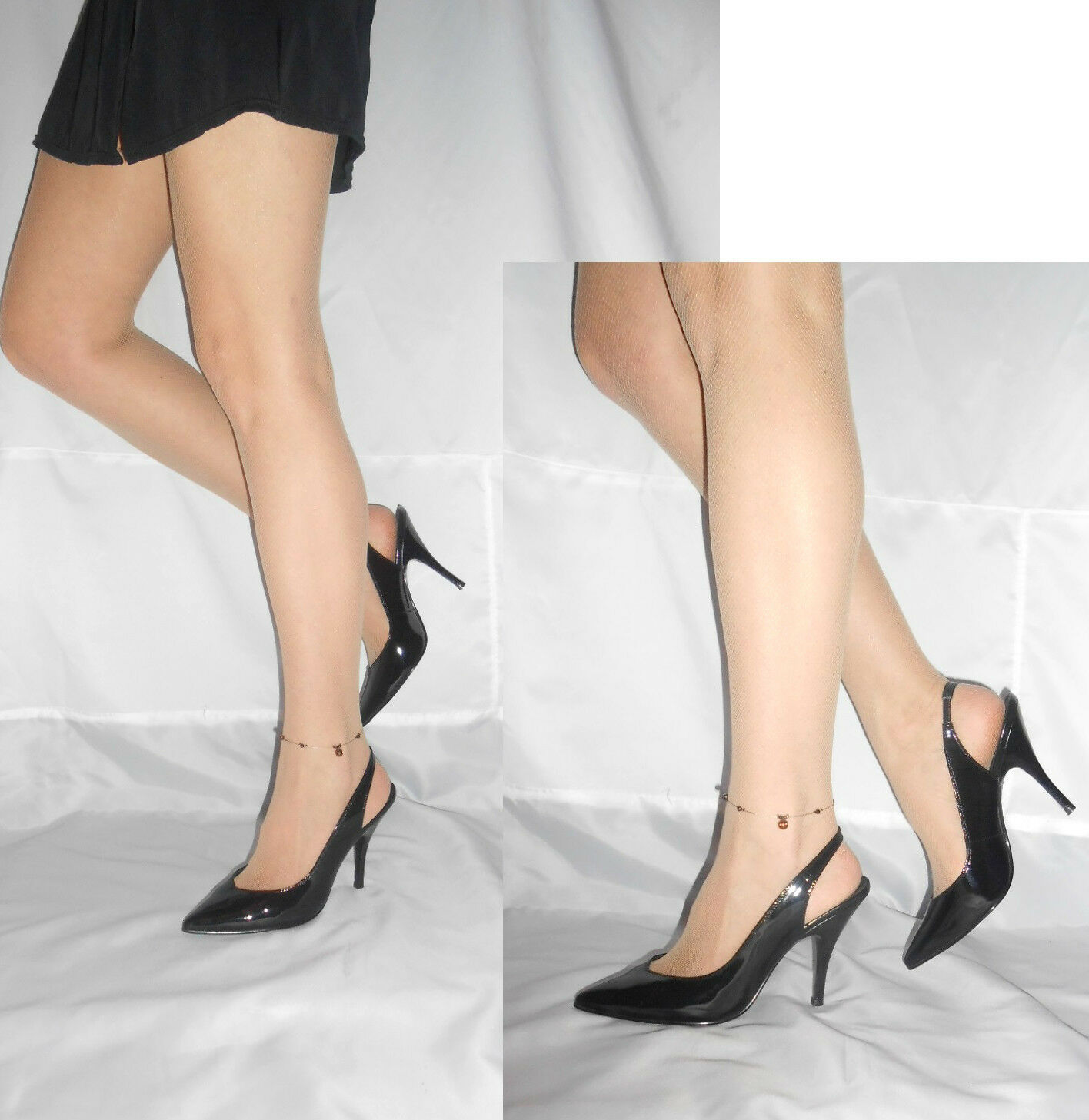 Women Black Patent Slingback shoes Elegant Ankle Strap Faith Size 7
