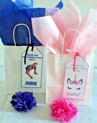 Papel personalizado para niños fiesta de cumpleaños Bolsas de Regalo Botín Bolso /& Tissue