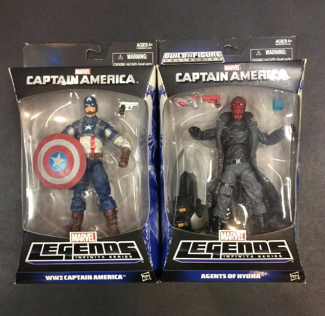 Marvel Leyendas Segunda Guerra Mundial Capitán América y figuras de agentes de HYDRA Nuevo en paquete de menta en tarjeta Hermoso