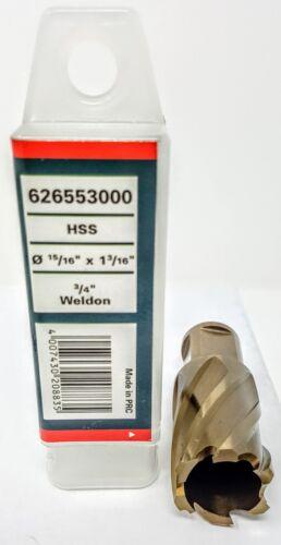 """METABO 626553000 HSS 15//16/"""" X 1 3//16/"""" HSS Annular Cutter Fits Hougen"""