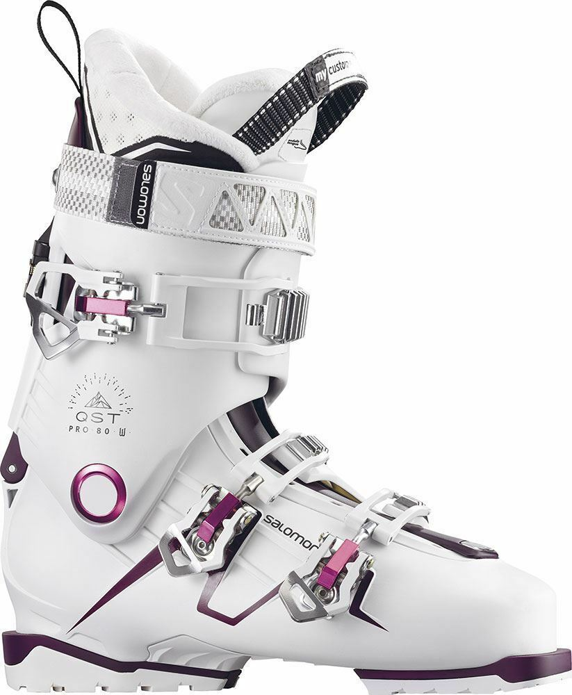 Salomon QST Pro 80 W  White Burgandy Women Ski Boot Sizes 23.5, 24.5,25.5, 26.5