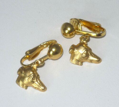 CLIP ON Earrings with Gold Plt Greyhound or Whippet Profile Charms