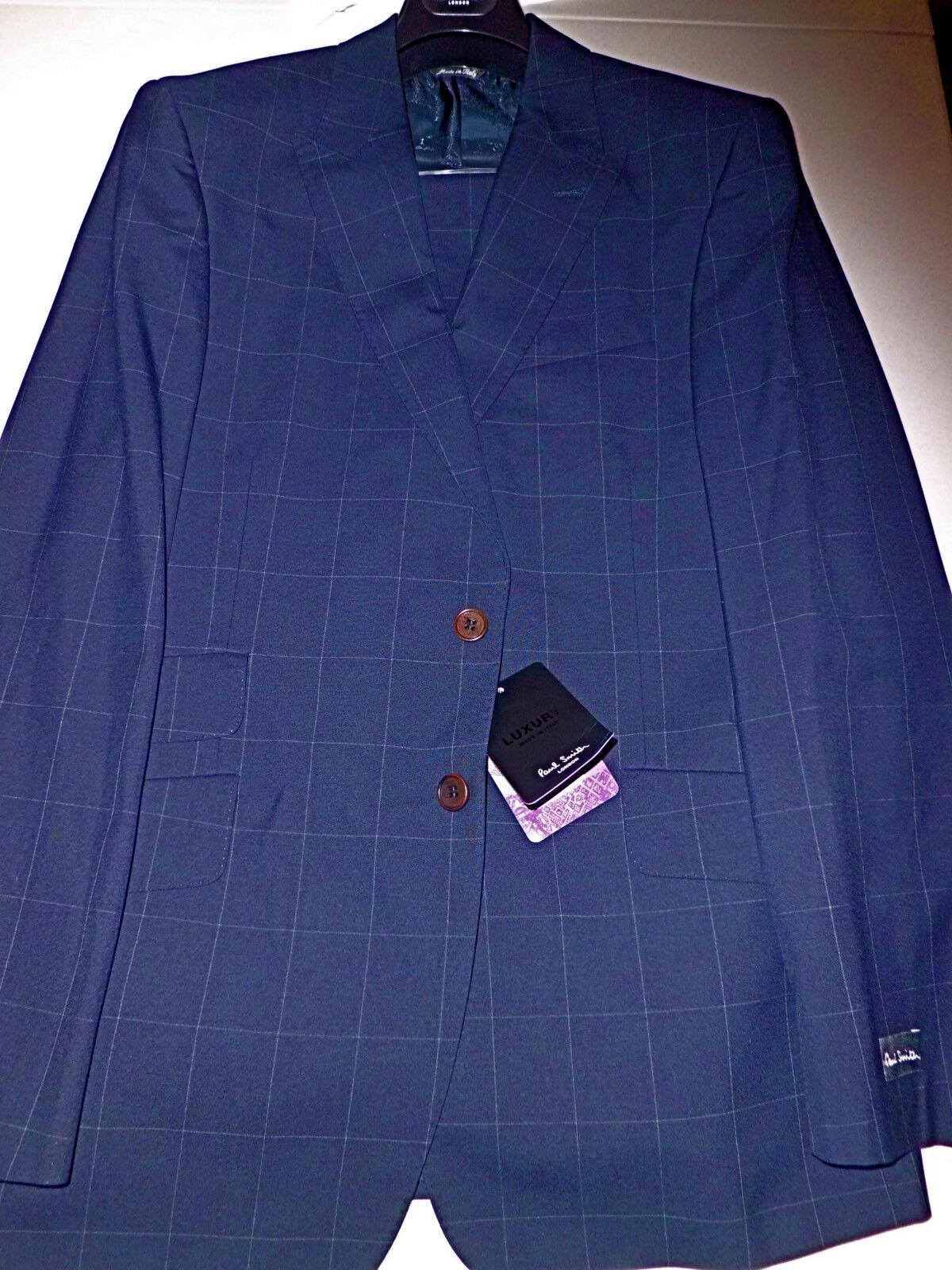 NWT PAUL SMITH navy windowpane 42 52 R peak lapel s120's wool Italian suit