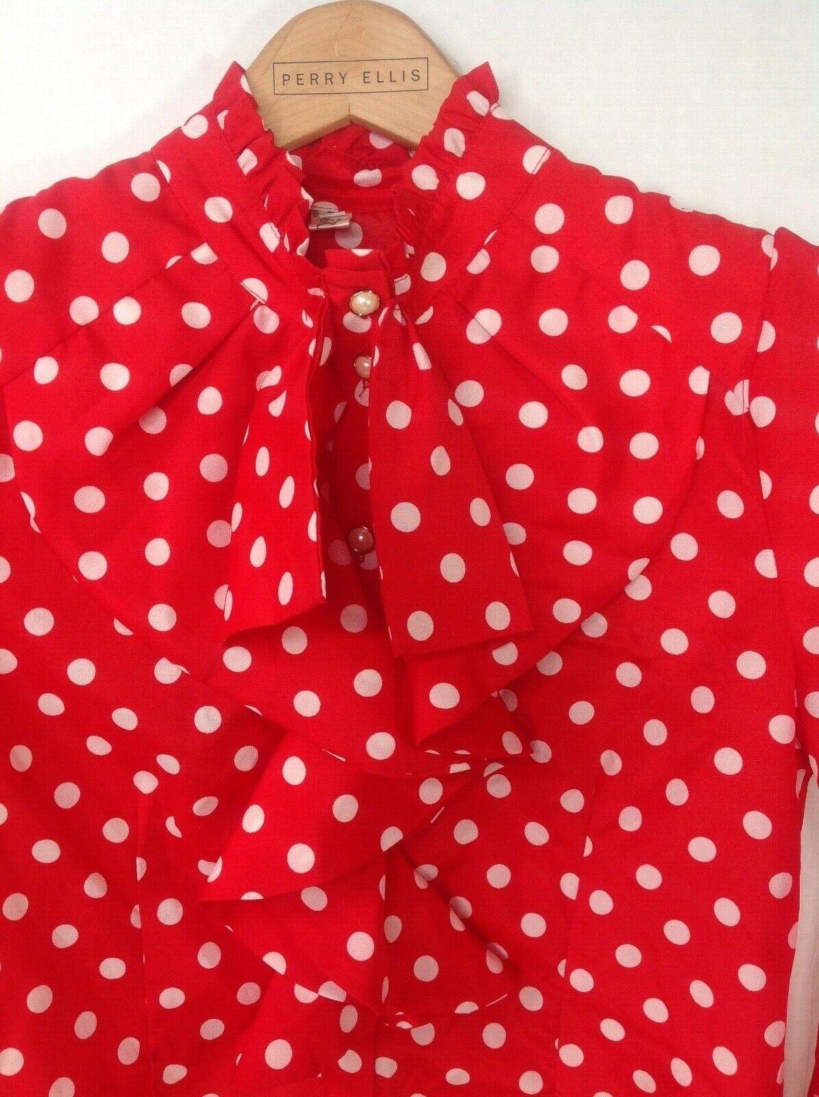 Vintage Red White Polka Dot High Neck Ruffle Blou… - image 3