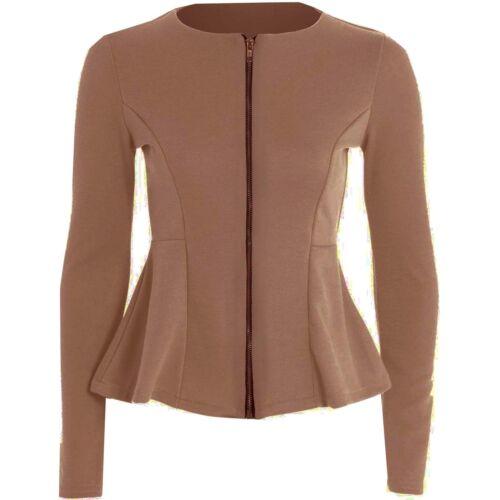 Womens Ladies Peplum Ruffle Plus Size Tailored Blazer Jacket Top Size 8-26zip