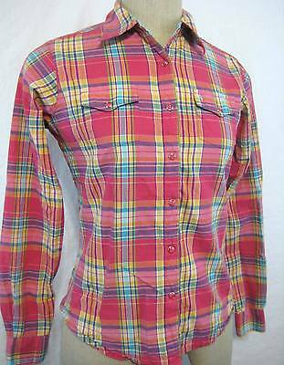 Vintage 80s Wrangler Shirt Sz S Western Cotton Pink Blue Plaid Snap Button