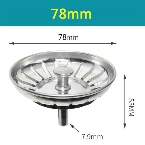 Details about  /Stainless Steel Sink Drain Plug Waste Basin Filter Strainer Drainer Kitchen