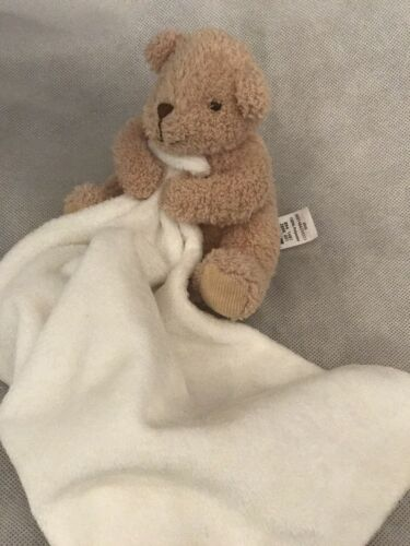 GEORGE White Cream Brown Bear  BABY COMFORTER BLANKET Blankie