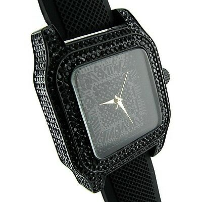 Iced-Out Mens Hip Hop Watch Roman Numerals Black Stones Bling Big Chunky Case
