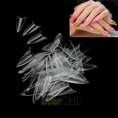 500PCS Clear Natural White False Point Stiletto French Acrylic UV Gel Nail Tips