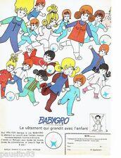 PUBLICITE ADVERTISING 116  1969  les vetements enfants Babygro Fra-For