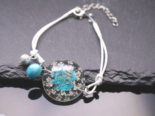 Flores pulsera flores-cabochon cirujana de perlas blanco azul