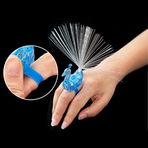 10pcs Peacock Light Up Finger Ring Laser LED Glow In Dark Stick Party Kids Toys