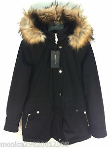 152637f3 Details about ZARA BLACK PARKA COAT WITH FUR HOOD SIZE XS M REF 5065 246