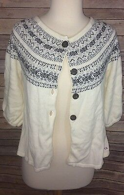 Clothing, Shoes & Accessories Careful Women's Tommy Hilfiger Ivory 3/4 Sleeve Cardigan Small Petite Sweaters