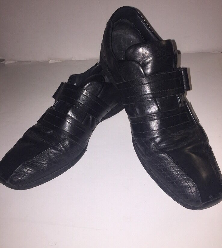 Hugo Boss Black Leather Jerome Velcro Sneaker Trainer Style shoes  EU 42