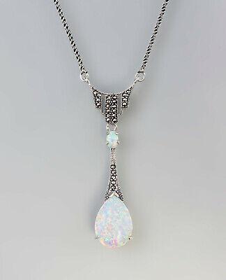 Haben Sie Einen Fragenden Verstand 9907151 925er Silber Anhänger Opal Markasiten Collier Jugendstil