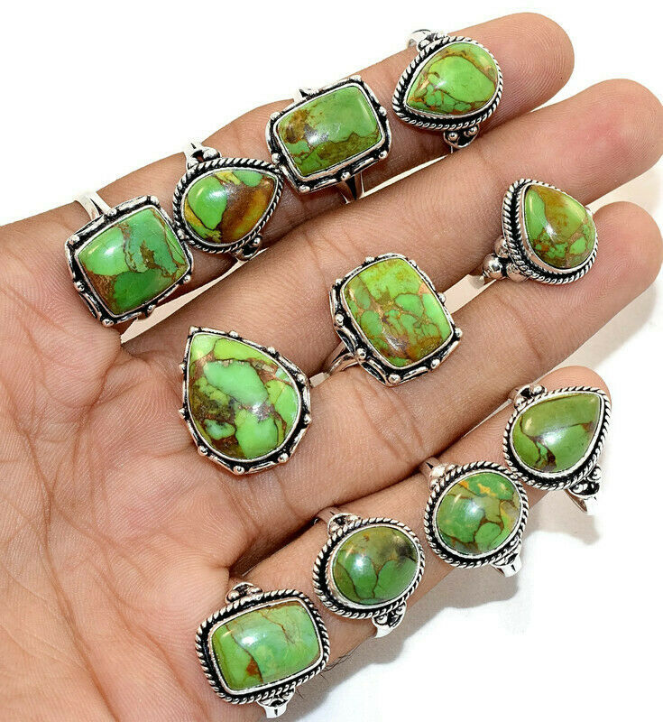 20 Pcs. New Lot Natural Green Copper Turquoise 925 Silver Plated Rings Jewelry