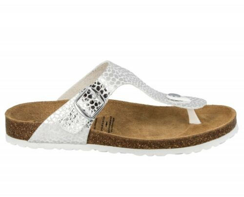 Lico Zehensteg-Pantolette weiß-silber Fußbett-Pantolette 560194