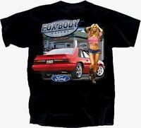 Ford Mustang T-shirt Black Fox Body Garage 1979-1993 S-xl 22.99+2xl,3xl
