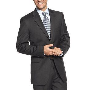 Jones-New-York-Men-039-s-Wool-Charcoal-Solid-36S-24-7-Performance-Suit-jacket-Blazer