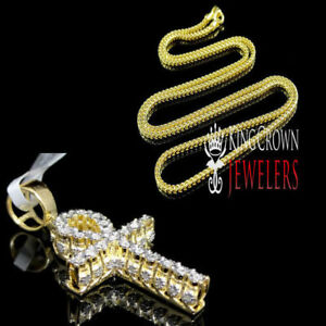 3d mini men ladies small genuine real diamond egyptian ankh cross